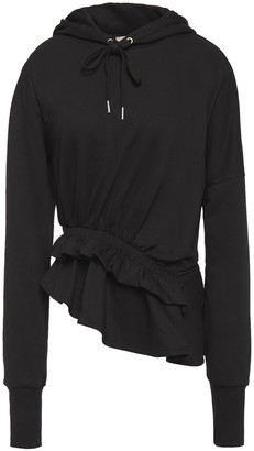 Preen Line Asymmetric Ruffled French Cotton-terry Hoodie