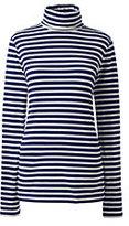 Lands' End Women's Petite Shaped Layering Turtleneck-Dark Sapphire Stripe
