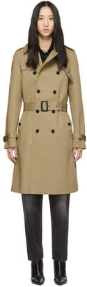 Saint Laurent Tan Gabardine Trench Coat