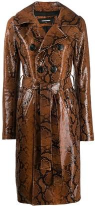 DSQUARED2 snakeskin effect coat