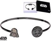 Disney Women's Stainless Steel Black PVD Plated Star Wars Darth Vader Cuff Bangle Bracelet
