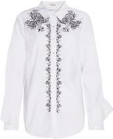 Suno Embroidered cotton-poplin shirt