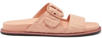 Fendi Logo-embossed Strap Leather Sandals - Womens - Pink