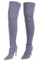 AX Paris Grey Stilletto Thigh-High Boots