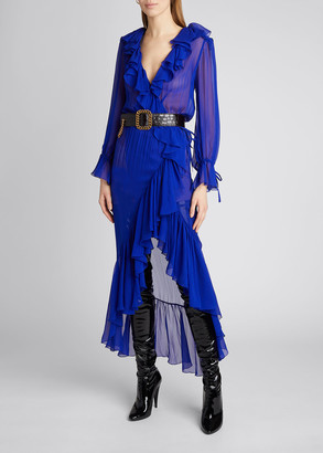 Saint Laurent V-Neck Long-Sleeve High-Low Wrap Dress with Ruffles