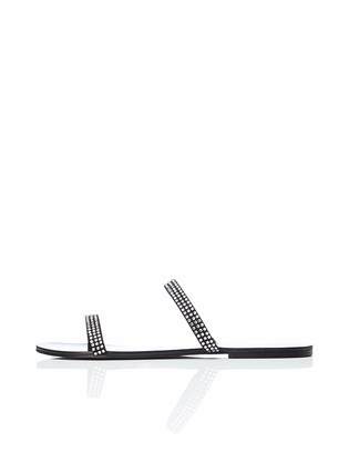 Find. Amazon Brand Women's Two-band Sparkly Open-Toe Flat Sandals Black US 8.5
