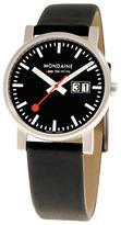 Mondaine A6693030014sbb Unisex Evo Big Date Leather Strap Watch, Black