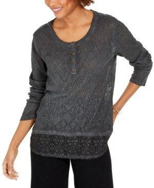 Style&Co. Style & Co Lace Henley Top, Created for Macy's