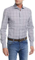 Isaia Irregular Check-Print Cotton Dress Shirt