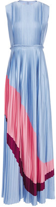 Roksanda Isabella Pleated Color-block Satin Maxi Dress