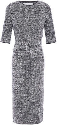 Victoria Victoria Beckham Belted Marled Stretch-knit Midi Dress