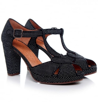 Chie Mihara Black Polka Dots Giki Shoes - 39 - White/Black/Leather