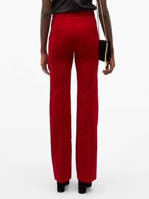 Saint Laurent High-rise Cotton-corduroy Flared Trousers - Red