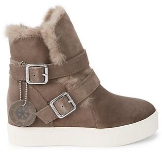 J/Slides Faux-Fur Trim Suede Boots