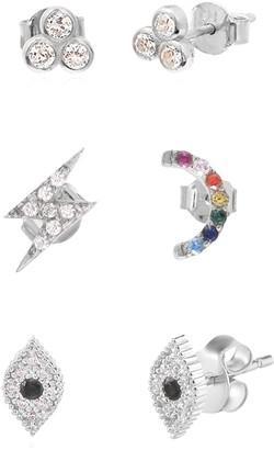 Gab+Cos Designs Sterling Silver CZ Good Luck Charm Mix & Match Stud Earring Set