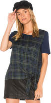 Michael Stars Short Sleeve Tie Front Tee in Blue. - size L (also in M,S,XS)