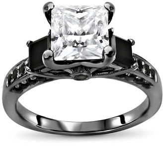 Overstock 14k White Gold With Black Rhodium Plating 2.0ct Princess Cut Moissanite and 3/4ct 3 Stone Black Diamond Engagement Ring