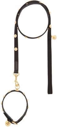 Versace Black Medusa Studded Collar and Leash Set
