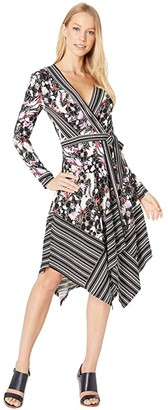 BCBGMAXAZRIA Long Sleeve Printed Matte Jersey Wrap Dress (Black Sketch Florals) Women's Clothing