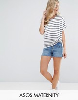 Asos Denim Side Split Shorts In Phoebe Wash