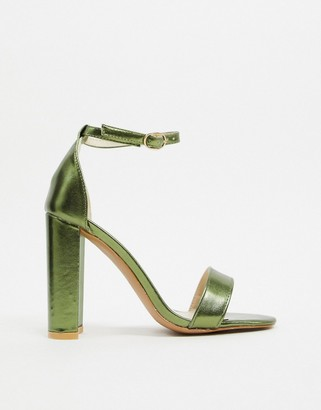 Glamorous barely there heels in green metallic
