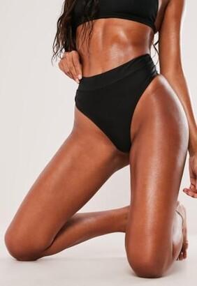 Missguided Black Mix And Match High Waisted Thong Bikini Bottoms