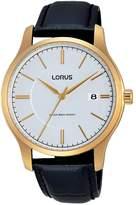 Lorus Men's 40mm Black Leather Band Steel Case Quartz -Tone Dial Analog Watch RS966BX9