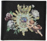 Dolce and Gabbana Black Crowns and Flowers Bifold Wallet