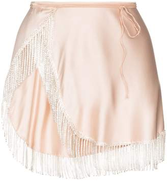 Oseree crystal fringe mini wrap skirt