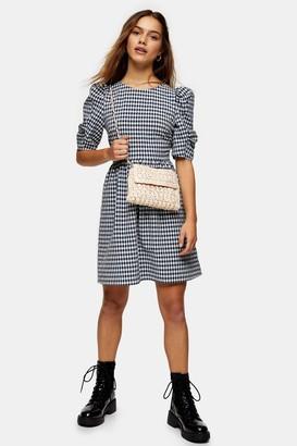 Topshop PETITE Navy Gingham Smock Mini Dress