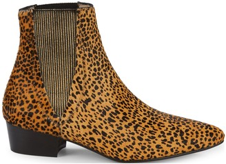 Pure Navy Hubert Leopard Print Calf-Hair Booties