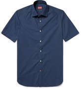 Isaia Slim-fit Pin-dot Cotton-poplin Shirt - Storm blue
