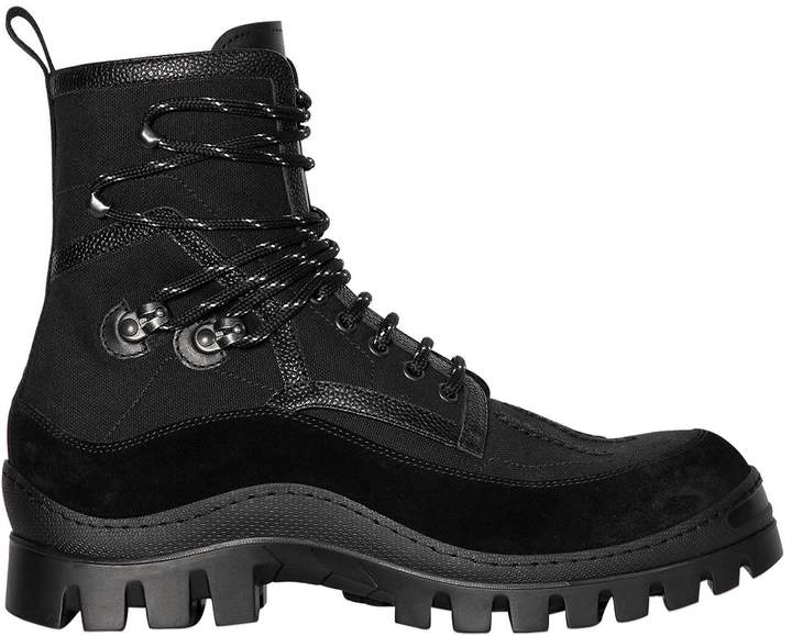 DSQUARED2 Canvas & Leather Hiking Boots
