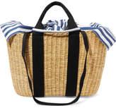 Muun Caba Straw And Striped Cotton-canvas Tote