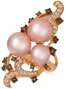 LeVian Le Vian Crazy Collection Strawberry Pearls (10mm) & Multi-Gemstone (1-1/8 ct. t.w.) Ring in 14k Gold