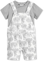 First Impressions 2-Pc. T-Shirt & Elephant-Print Shortall Set, Baby Boys (0-24 months), Only at Macy's