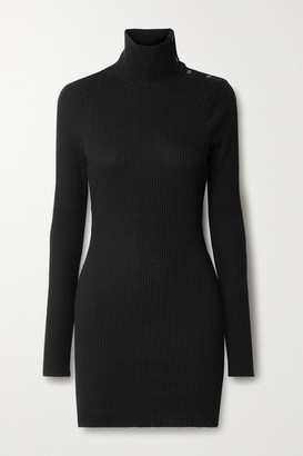The Range Stark Button-detailed Waffle-knit Cotton-blend Turtleneck Mini Dress - Black