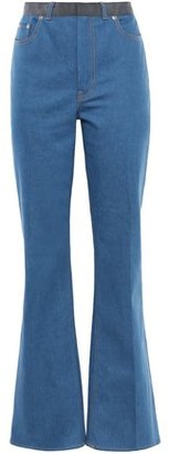 ADEAM Grosgrain-trimmed High-rise Flared Jeans