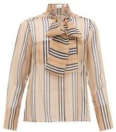 Burberry Amelie Icon-stripe Silk-georgette Blouse - Womens - Beige Multi