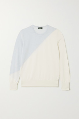 Akris Two-tone Intarsia Cashmere And Silk-blend Sweater - Beige