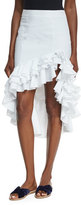 Caroline Constas Pencil Ruffled High-Low Skirt