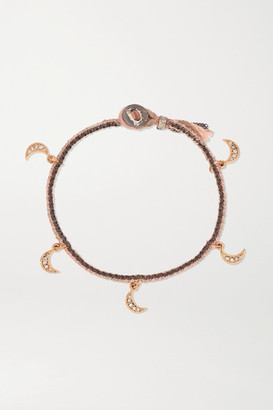 Brooke Gregson Crescent 14-karat Rose Gold, Sterling Silver, Silk And Diamond Bracelet - One size