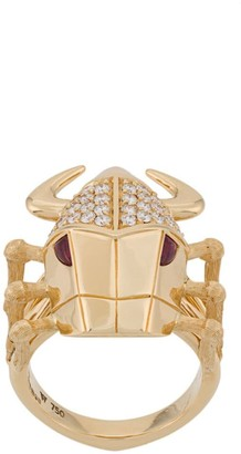 Stephen Webster 18kt yellow gold, diamond and ruby Toro Beetle ring