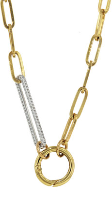 Foundrae Chubby Annex Link On Classic FOB With Diamond Link Clip Necklace