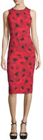 Michael Kors Sleeveless Floral-Print Contour Sheath Dress, Crimson