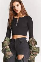 Forever 21 Ribbed Pull-Ring Crop Top