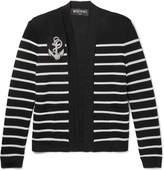 Balmain Appliquéd Striped Knitted Cardigan