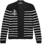 Balmain Appliquéd Striped Knitted Cardigan