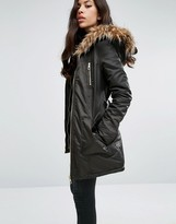 Lipsy Faux Fur Hood Belted Parka Jacket With Zip Pockets
