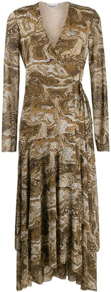 Ganni V-neck snakeskin print dress